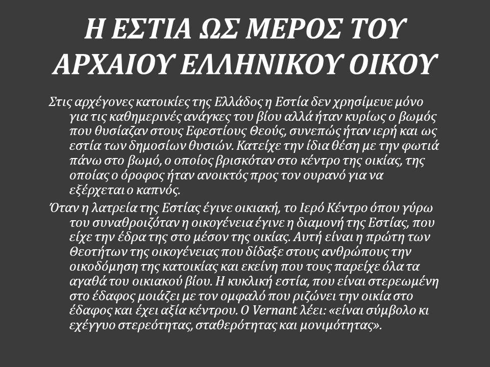 Η ΕΣΤΙΑ ΩΣ ΜΕΡΟΣ ΤΟΥ ΑΡΧΑΙΟΥ ΕΛΛΗΝΙΚΟΥ ΟΙΚΟΥ Στις αρχέγονες κατοικίες της Ελλάδος η Εστία δεν χρησίμευε μόνο για τις καθημερινές ανάγκες του βίου αλλά