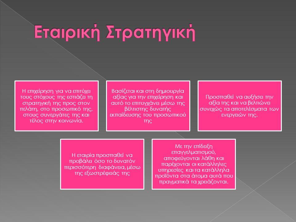 Η επιχείρηση για να επιτύχει τους στόχους της εστιάζει τη στρατηγική της προς στον πελάτη, στο προσωπικό της, στους συνεργάτες της και τέλος στην κοιν