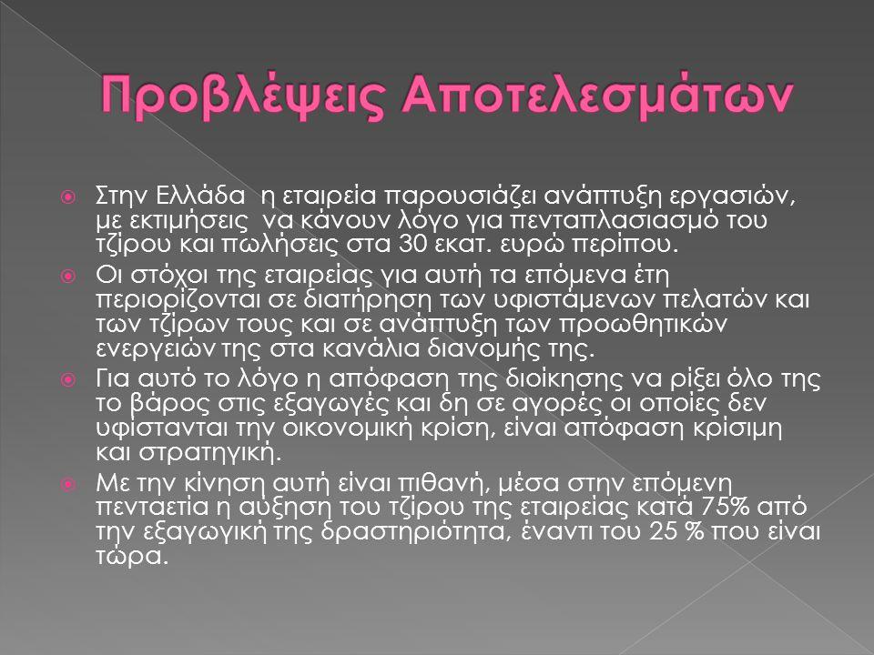  Στην Ελλάδα η εταιρεία παρουσιάζει ανάπτυξη εργασιών, με εκτιμήσεις να κάνουν λόγο για πενταπλασιασμό του τζίρου και πωλήσεις στα 30 εκατ. ευρώ περί