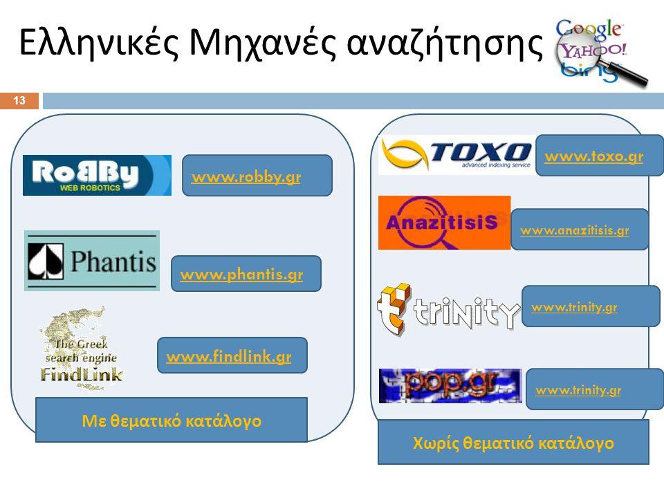 Ελληνικές Μηχανές αναζήτησης 13 www.robby.gr www.phantis.gr www.findlink.gr Με θεματικό κατάλογο Χωρίς θεματικό κατάλογο www.toxo.gr www.anazitisis.gr www.trinity.gr