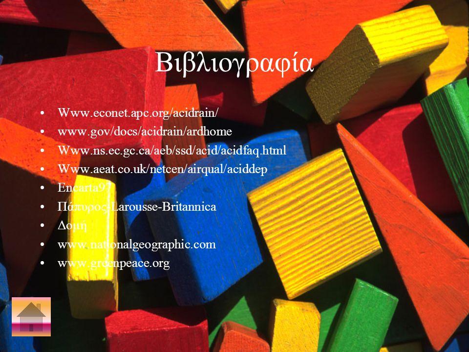 Βιβλιογραφία Www.econet.apc.org/acidrain/ www.gov/docs/acidrain/ardhome Www.ns.ec.gc.ca/aeb/ssd/acid/acidfaq.html Www.aeat.co.uk/netcen/airqual/aciddep Encarta97 Πάπυρος-Larousse-Britannica Δομή www.natιοnalgeographic.com www.greenpeace.org