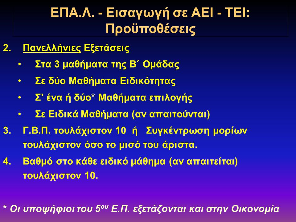 ΚΑΤΗΓΟΡΙΑΜΑΘΗΜΑ ΩΡΕΣ Β΄ ΟΜΑΔΑ (για υποψήφιους μόνο ΤΕΙ) Νεοελληνική Γλώσσα (ΓΕ.Λ.) 2 Μαθηματικά ΙΙ (Θετικής-Τεχνολ.Κατ/νσης ΓΕ.Λ.) 5 Φυσική ΙΙ (Θετικής-Τεχνολ.Κατ/νσης ΓΕ.Λ.) 3 ΜΑΘΗΜΑΤΑ ΕΠΙΛΟΓΗΣ (Ο μαθητής επιλέγει ένα* μάθημα) *Για υποψήφιους του 5 ου ΕΠ δύο μαθήματα Ιστορία του Νεότερου & Σύγχρονου Κόσμου (Γεν.