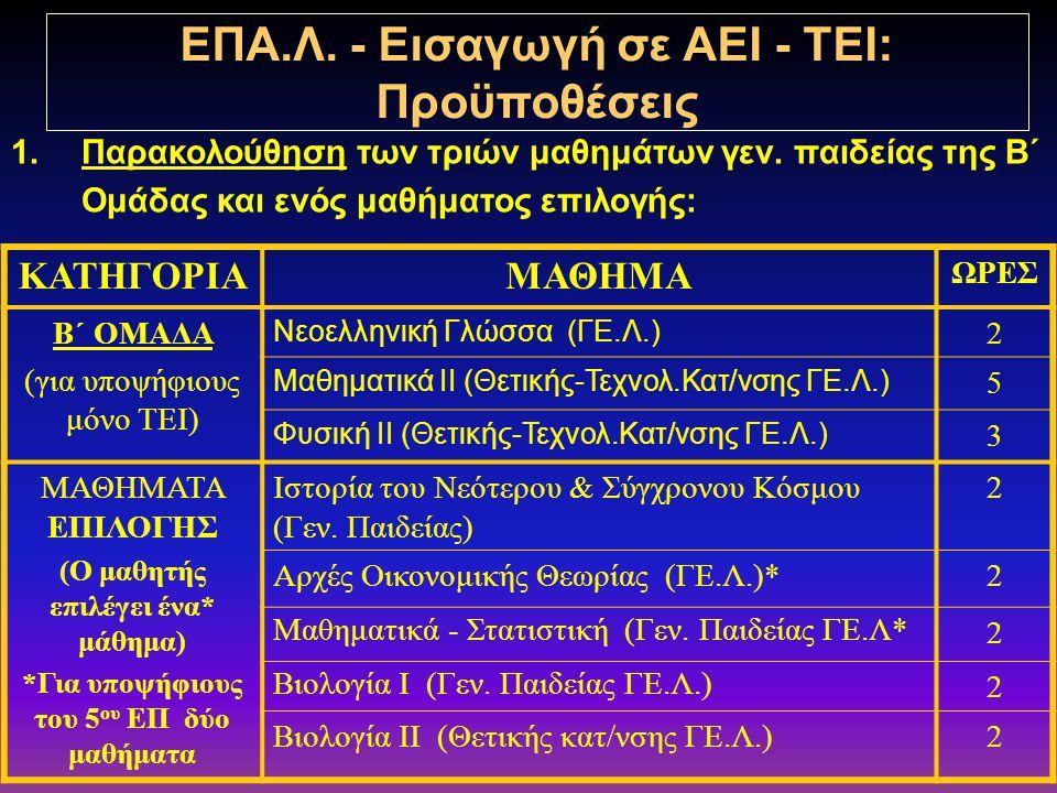 ΓΕΛ & ΕΠΑΛ ΕΙΣΑΓΩΓΗ ΣΤΑ ΑΕΙ & ΤΕΙ