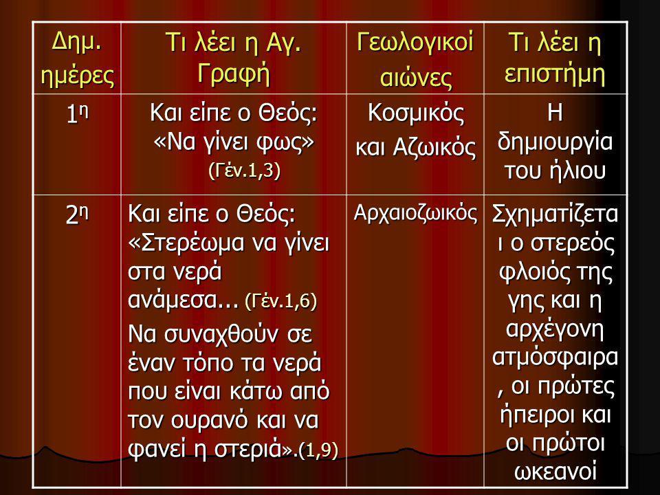 Δημ.ημέρες Τι λέει η Αγ. Γραφή Γεωλογικοίαιώνες Τι λέει η επιστήμη 1η1η1η1η Και είπε ο Θεός: «Να γίνει φως» (Γέν.1,3) (Γέν.1,3)Κοσμικός και Αζωικός Η