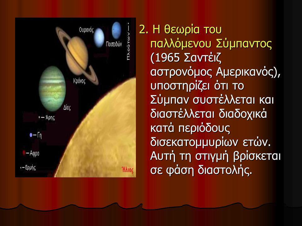 2. Η θεωρία του παλλόμενου Σύμπαντος (1965 Σαντέιζ αστρονόμος Αμερικανός), υποστηρίζει ότι το Σύμπαν συστέλλεται και διαστέλλεται διαδοχικά κατά περιό