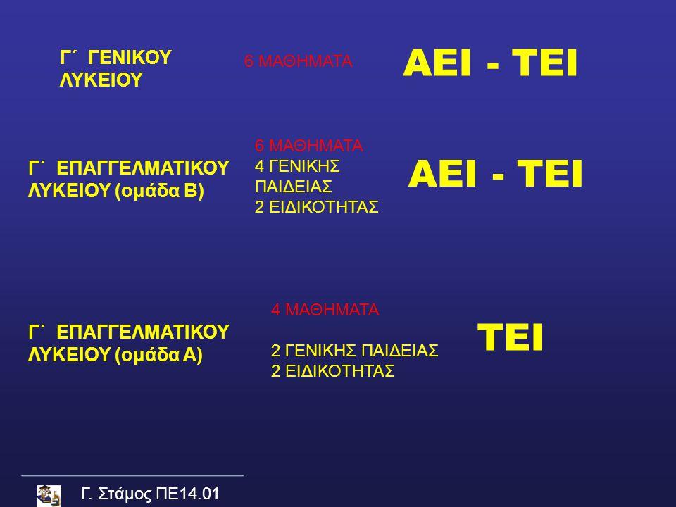Γ. Στάμος ΠΕ14.01 Γ΄ ΓΕΝΙΚΟΥ ΛΥΚΕΙΟΥ Γ΄ ΕΠΑΓΓΕΛΜΑΤΙΚΟΥ ΛΥΚΕΙΟΥ (ομάδα Β) 6 ΜΑΘΗΜΑΤΑ 4 ΓΕΝΙΚΗΣ ΠΑΙΔΕΙΑΣ 2 ΕΙΔΙΚΟΤΗΤΑΣ 4 ΜΑΘΗΜΑΤΑ 2 ΓΕΝΙΚΗΣ ΠΑΙΔΕΙΑΣ 2 Ε