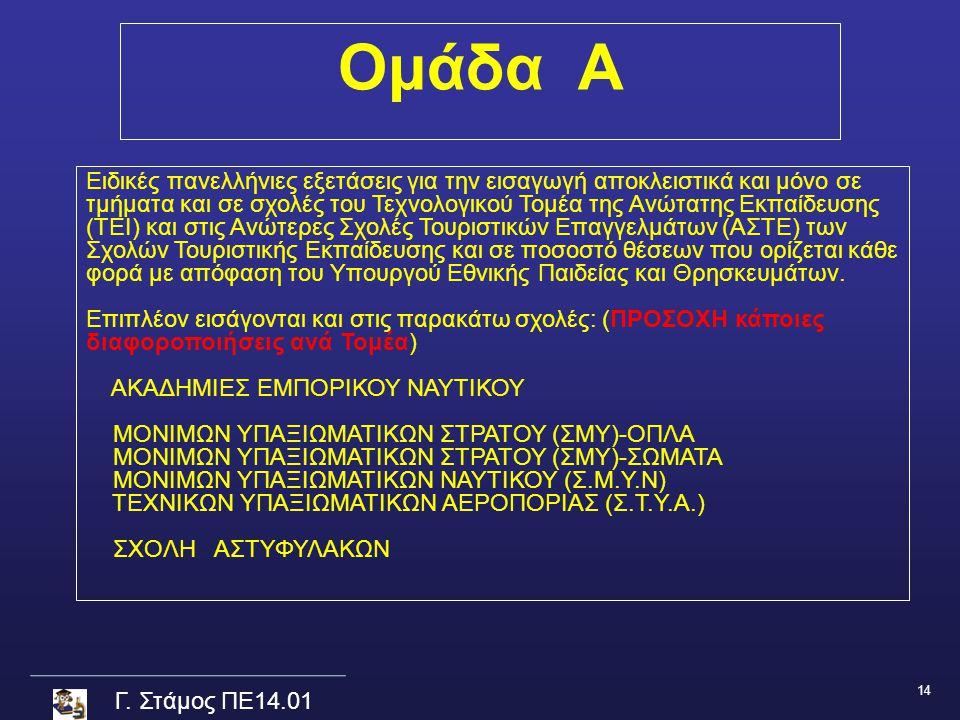 Γ. Στάμος ΠΕ14.01 Ομάδα Α Ειδικές πανελλήνιες εξετάσεις για την εισαγωγή αποκλειστικά και μόνο σε τμήματα και σε σχολές του Τεχνολογικού Τομέα της Ανώ