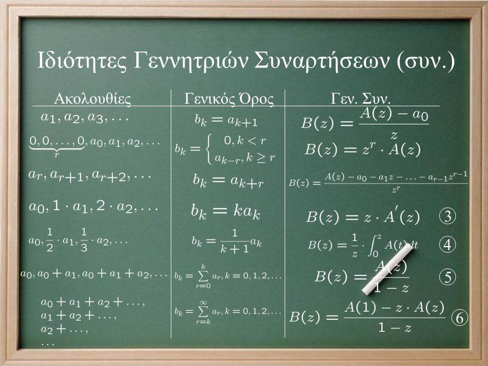 Ιδιότητες Γεννητριών Συναρτήσεων (συν.) Ακολουθίες Γενικός Όρος Γεν.