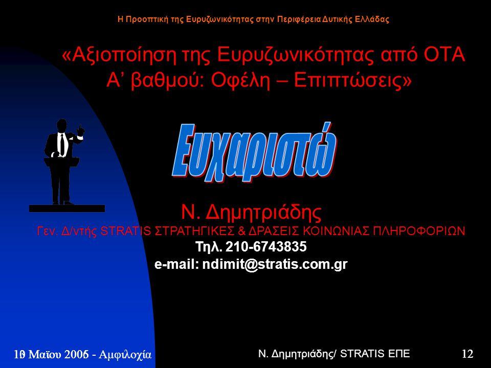 Ν. Δημητριάδης/ STRATIS ΕΠΕ 12 13 Μαϊου 2005 - Η Προοπτική της Ευρυζωνικότητας στην Περιφέρεια Δυτικής Ελλάδας 12 10 Μαϊου 2006 - Αμφιλοχία «Αξιοποίησ