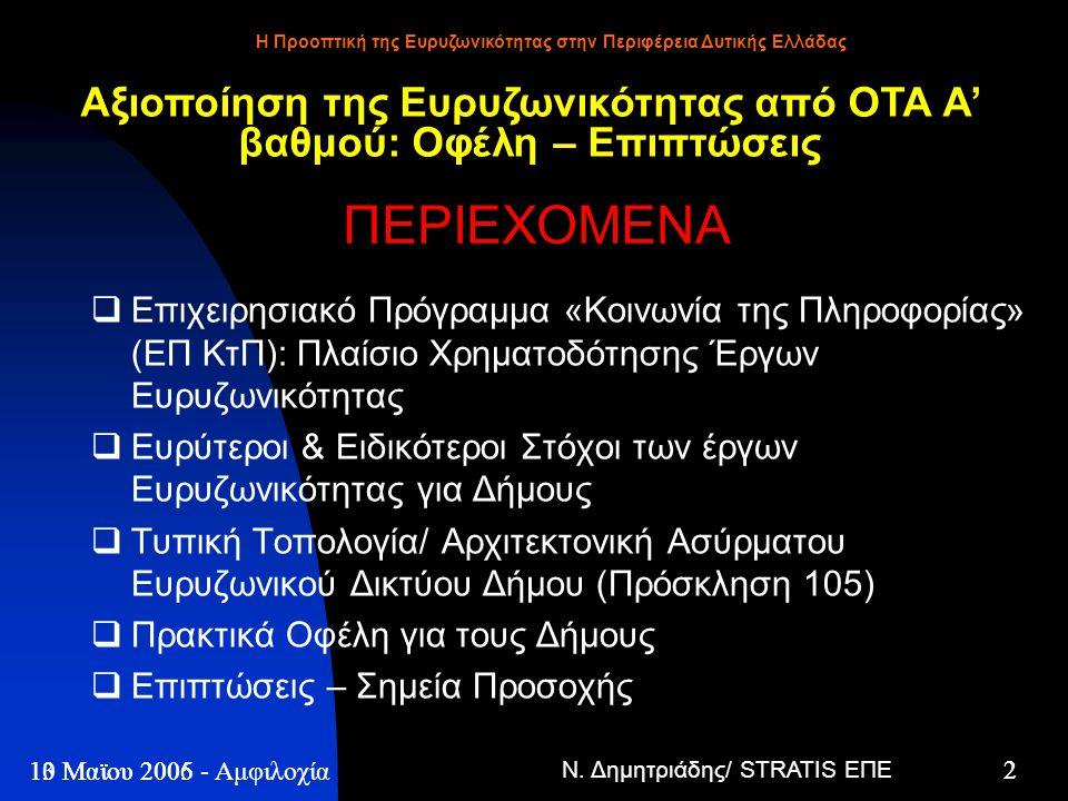 Ν. Δημητριάδης/ STRATIS ΕΠΕ 2 13 Μαϊου 2005 - Η Προοπτική της Ευρυζωνικότητας στην Περιφέρεια Δυτικής Ελλάδας 2 10 Μαϊου 2006 - Αμφιλοχία ΠΕΡΙΕΧΟΜΕΝΑ