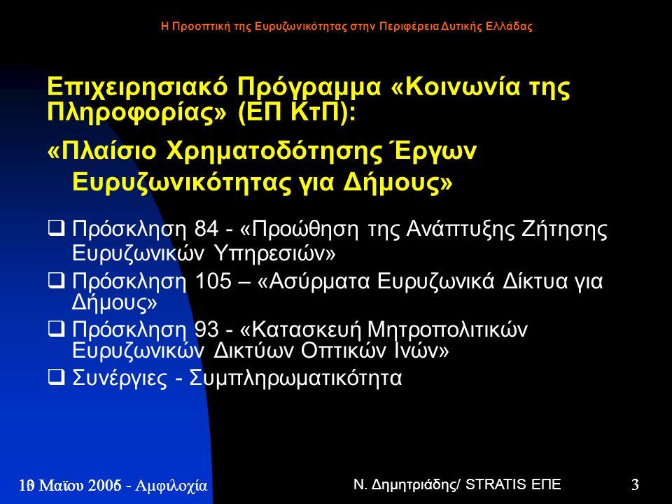 Ν. Δημητριάδης/ STRATIS ΕΠΕ 3 13 Μαϊου 2005 - Η Προοπτική της Ευρυζωνικότητας στην Περιφέρεια Δυτικής Ελλάδας 3 10 Μαϊου 2006 - Αμφιλοχία Επιχειρησιακ