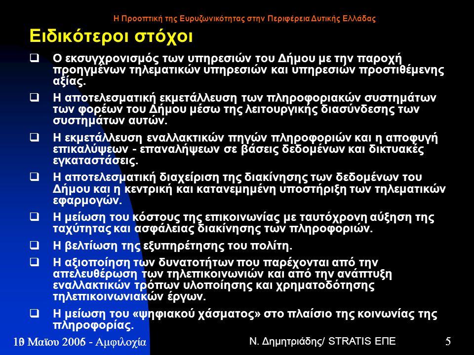 Ν. Δημητριάδης/ STRATIS ΕΠΕ 5 13 Μαϊου 2005 - Η Προοπτική της Ευρυζωνικότητας στην Περιφέρεια Δυτικής Ελλάδας 5 10 Μαϊου 2006 - Αμφιλοχία Ειδικότεροι