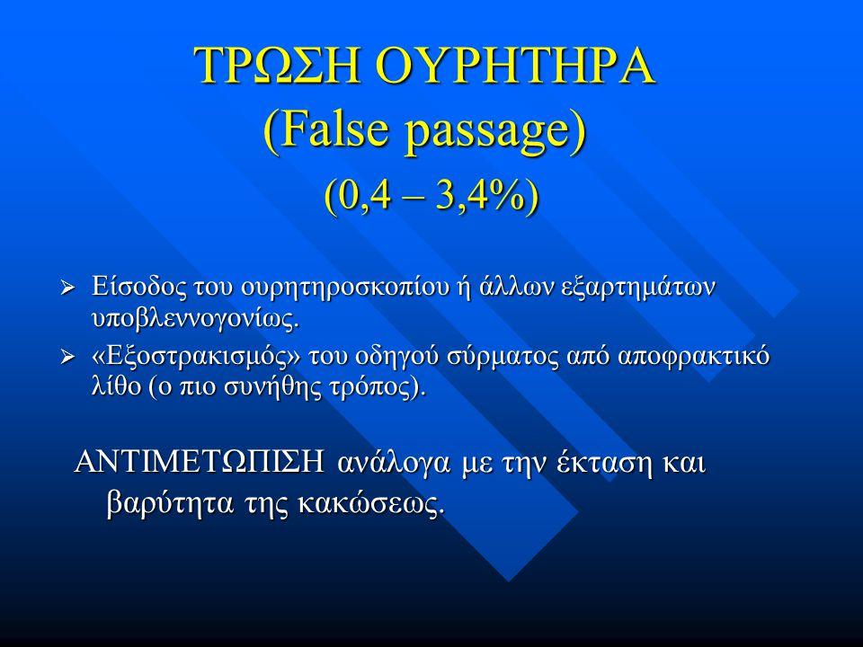 ΤΡΩΣΗ ΟΥΡΗΤΗΡΑ (False passage) (0,4 – 3,4%)  Είσοδος του ουρητηροσκοπίου ή άλλων εξαρτημάτων υποβλεννογονίως.  «Εξοστρακισμός» του οδηγού σύρματος α