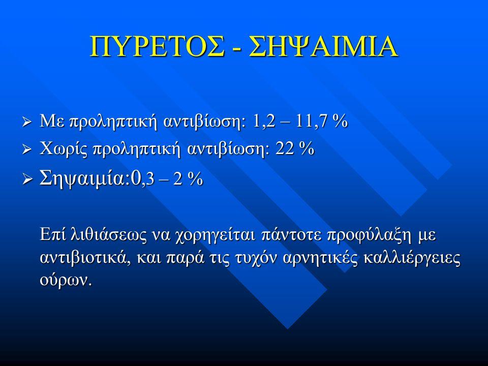 ΠΥΡΕΤΟΣ - ΣΗΨΑΙΜΙΑ  Με προληπτική αντιβίωση: 1,2 – 11,7 %  Χωρίς προληπτική αντιβίωση: 22 %  Σηψαιμία:0,3 – 2 % Επί λιθιάσεως να χορηγείται πάντοτε