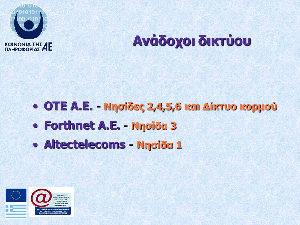 OTE A.E. Νησίδες 2,4,5,6 και Δίκτυο κορμούOTE A.E. - Νησίδες 2,4,5,6 και Δίκτυο κορμού Forthnet A.E. Νησίδα 3Forthnet A.E. - Νησίδα 3 Altectelecoms Νη