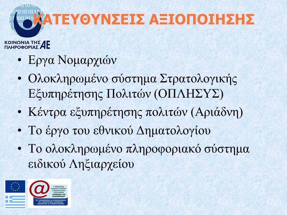 ΚΑΤΕΥΘΥΝΣΕΙΣ ΑΞΙΟΠΟΙΗΣΗΣ Εργα Νομαρχιών Ολοκληρωμένο σύστημα Στρατολογικής Εξυπηρέτησης Πολιτών (ΟΠΛΗΣΥΣ) Κέντρα εξυπηρέτησης πολιτών (Αριάδνη) Το έργο του εθνικού Δηματολογίου Το ολοκληρωμένο πληροφοριακό σύστημα ειδικού Ληξιαρχείου