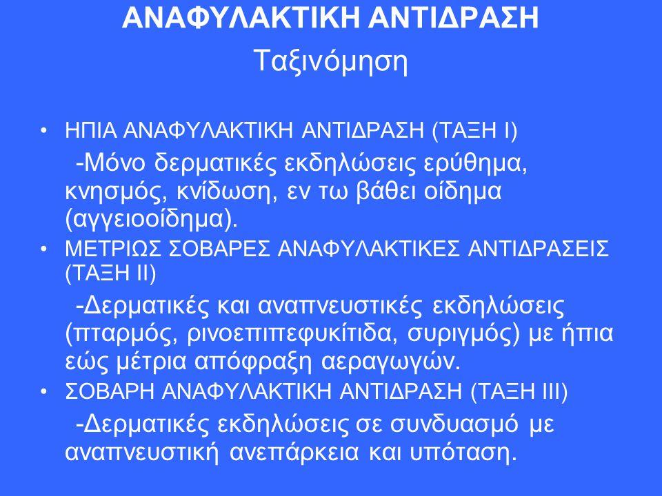 ΑΝΑΦΥΛΑΚΤΙΚΗ ΑΝΤΙΔΡΑΣΗ Ταξινόμηση ΗΠΙΑ ΑΝΑΦΥΛΑΚΤΙΚΗ ΑΝΤΙΔΡΑΣΗ (ΤΑΞΗ Ι) -Μόνο δερματικές εκδηλώσεις ερύθημα, κνησμός, κνίδωση, εν τω βάθει οίδημα (αγγε