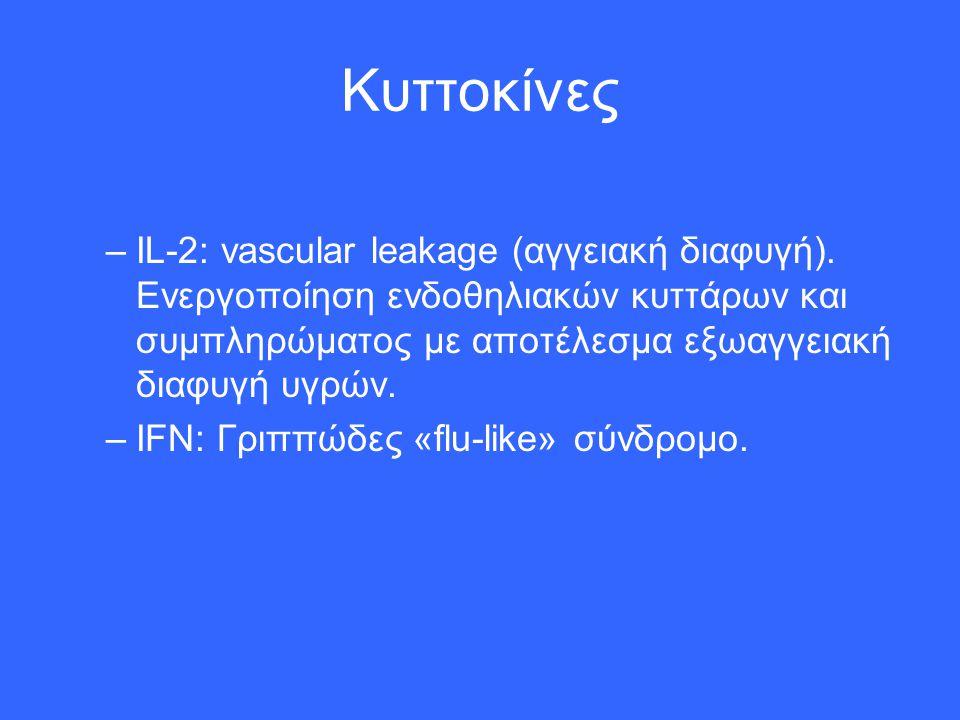Κυττοκίνες –ΙL-2: vascular leakage (αγγειακή διαφυγή). Ενεργοποίηση ενδοθηλιακών κυττάρων και συμπληρώματος με αποτέλεσμα εξωαγγειακή διαφυγή υγρών. –