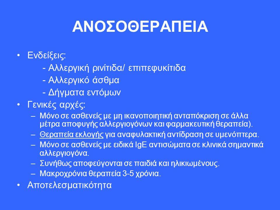 ΑΝΟΣΟΘΕΡΑΠΕΙΑ Ενδείξεις: - Αλλεργική ρινίτιδα/ επιπεφυκίτιδα - Αλλεργικό άσθμα - Δήγματα εντόμων Γενικές αρχές: –Μόνο σε ασθενείς με μη ικανοποιητική