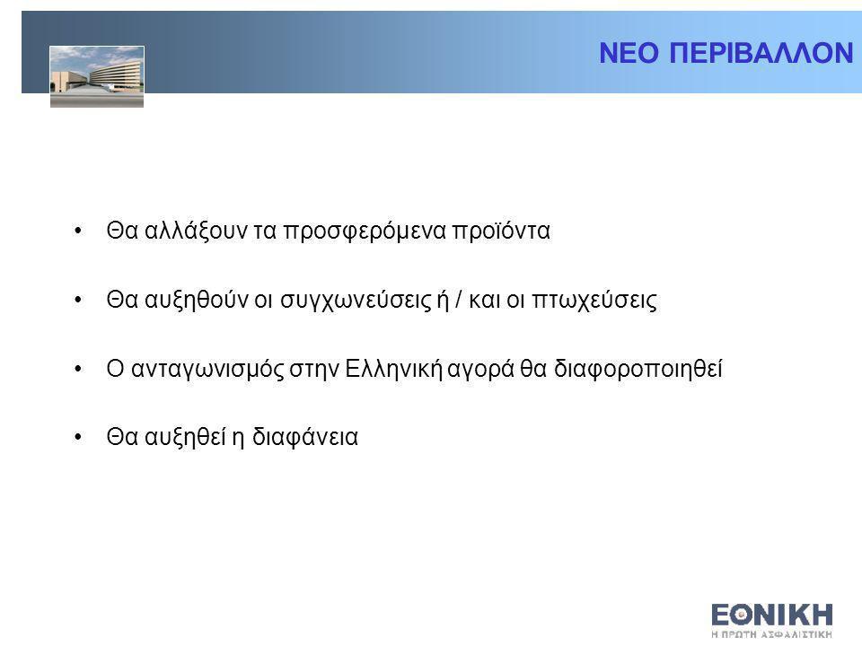 ΝΕΟ ΠΕΡΙΒΑΛΛΟΝ Θα αλλάξουν τα προσφερόμενα προϊόντα Θα αυξηθούν οι συγχωνεύσεις ή / και οι πτωχεύσεις Ο ανταγωνισμός στην Ελληνική αγορά θα διαφοροποιηθεί Θα αυξηθεί η διαφάνεια
