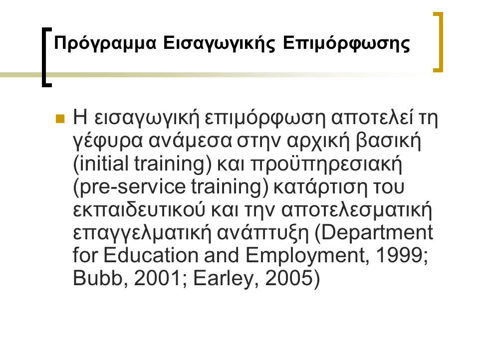 Πρόγραμμα Εισαγωγικής Επιμόρφωσης Η εισαγωγική επιμόρφωση αποτελεί τη γέφυρα ανάμεσα στην αρχική βασική (initial training) και προϋπηρεσιακή (pre-serv