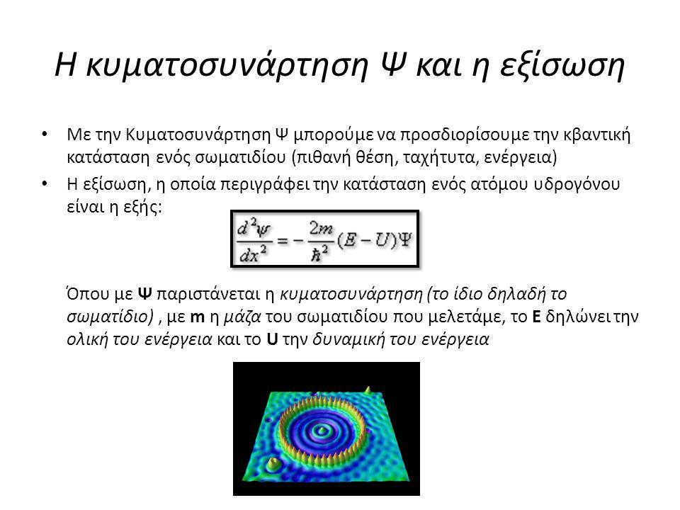 Η κυματοσυνάρτηση Ψ και η εξίσωση Με την Κυματοσυνάρτηση Ψ μπορούμε να προσδιορίσουμε την κβαντική κατάσταση ενός σωματιδίου (πιθανή θέση, ταχήτυτα, ε