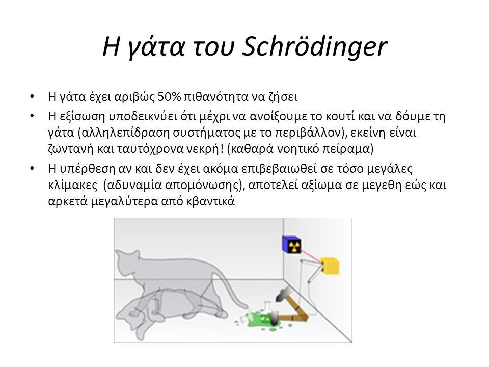 Η γάτα του Schrödinger Η γάτα έχει αριβώς 50% πιθανότητα να ζήσει Η εξίσωση υποδεικνύει ότι μέχρι να ανοίξουμε το κουτί και να δόυμε τη γάτα (αλληλεπί