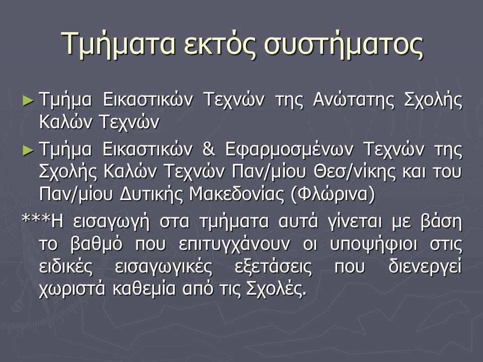 Τμήματα εκτός συστήματος ► Τμήμα Εικαστικών Τεχνών της Ανώτατης Σχολής Καλών Τεχνών ► Τμήμα Εικαστικών & Εφαρμοσμένων Τεχνών της Σχολής Καλών Τεχνών Παν/μίου Θεσ/νίκης και του Παν/μίου Δυτικής Μακεδονίας (Φλώρινα) ***Η εισαγωγή στα τμήματα αυτά γίνεται με βάση το βαθμό που επιτυγχάνουν οι υποψήφιοι στις ειδικές εισαγωγικές εξετάσεις που διενεργεί χωριστά καθεμία από τις Σχολές.