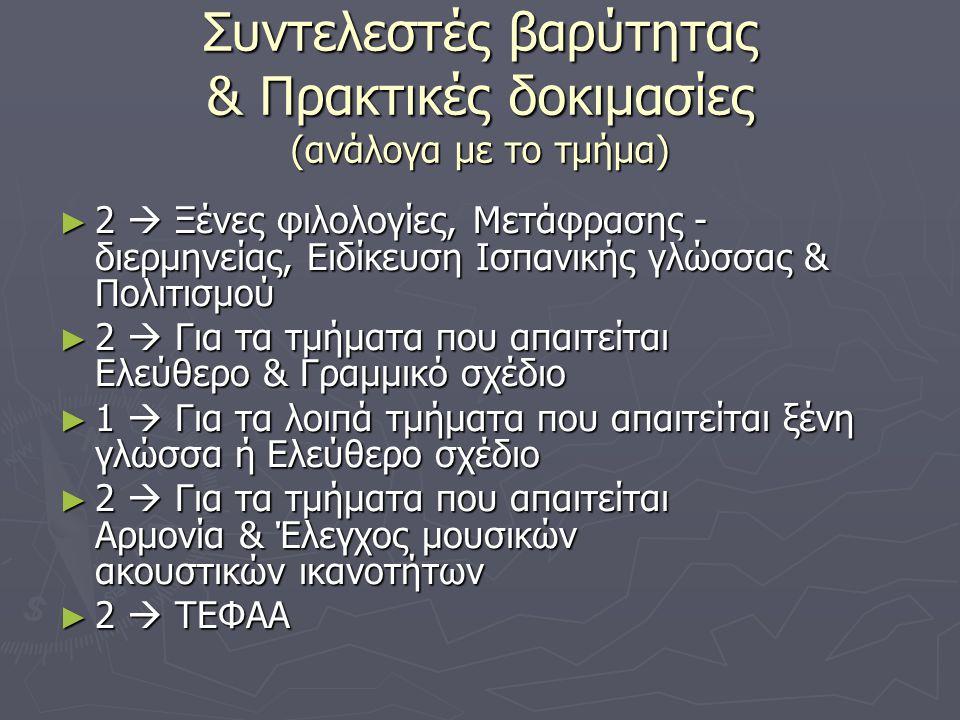 Συντελεστές βαρύτητας & Πρακτικές δοκιμασίες (ανάλογα με το τμήμα) ► 2  Ξένες φιλολογίες, Μετάφρασης - διερμηνείας, Ειδίκευση Ισπανικής γλώσσας & Πολιτισμού ► 2  Για τα τμήματα που απαιτείται Ελεύθερο & Γραμμικό σχέδιο ► 1  Για τα λοιπά τμήματα που απαιτείται ξένη γλώσσα ή Ελεύθερο σχέδιο ► 2  Για τα τμήματα που απαιτείται Αρμονία & Έλεγχος μουσικών ακουστικών ικανοτήτων ► 2  ΤΕΦΑΑ