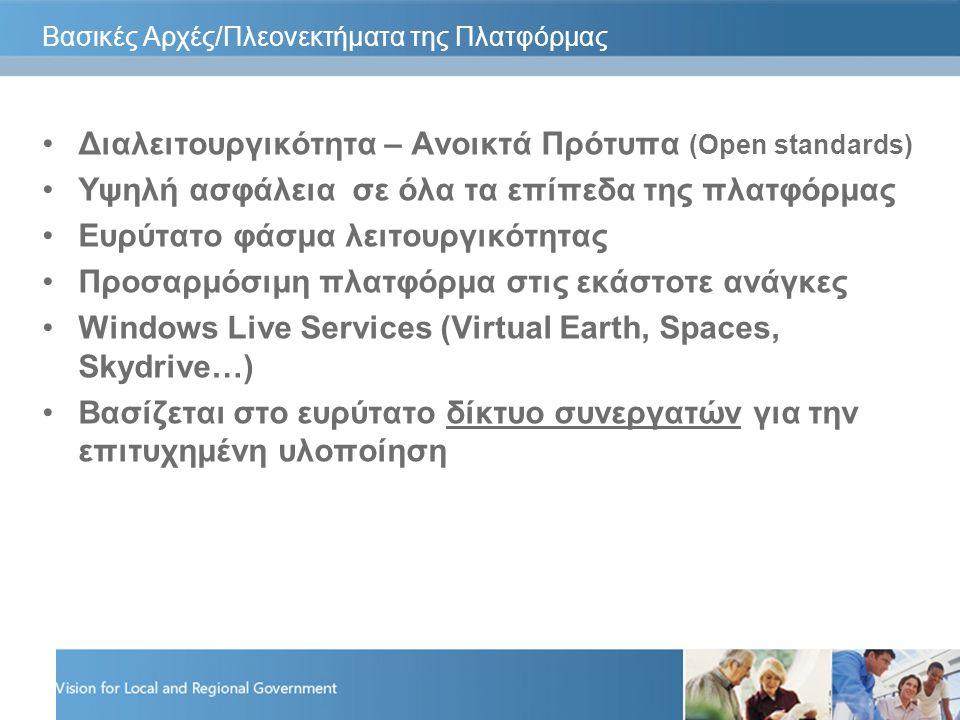 Βασικές Αρχές/Πλεονεκτήματα της Πλατφόρμας Διαλειτουργικότητα – Ανοικτά Πρότυπα (Open standards) Υψηλή ασφάλεια σε όλα τα επίπεδα της πλατφόρμας Ευρύτατο φάσμα λειτουργικότητας Προσαρμόσιμη πλατφόρμα στις εκάστοτε ανάγκες Windows Live Services (Virtual Earth, Spaces, Skydrive…) Βασίζεται στο ευρύτατο δίκτυο συνεργατών για την επιτυχημένη υλοποίηση