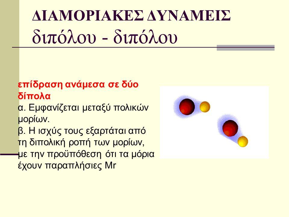 ΔΙΑΜΟΡΙΑΚΕΣ ΔΥΝΑΜΕΙΣ διπόλου - διπόλου επίδραση ανάμεσα σε δύο δίπολα α. Εµφανίζεται μεταξύ πολικών µορίων. β. Η ισχύς τους εξαρτάται από τη διπολική