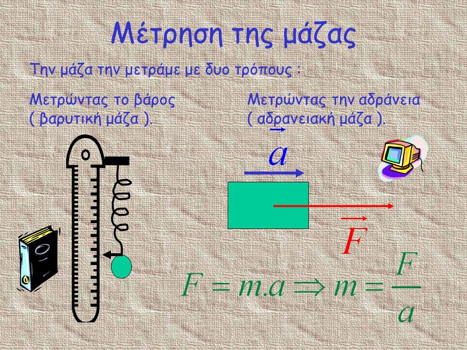 Η μάζα Η μάζα ενός σώματος καθορίζει το βάρος του. Μεγάλη μάζα σημαίνει μεγάλο βάρος
