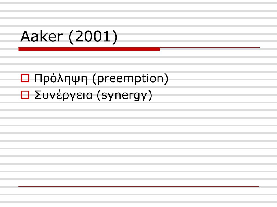 Aaker (2001)  Πρόληψη (preemption)  Συνέργεια (synergy)