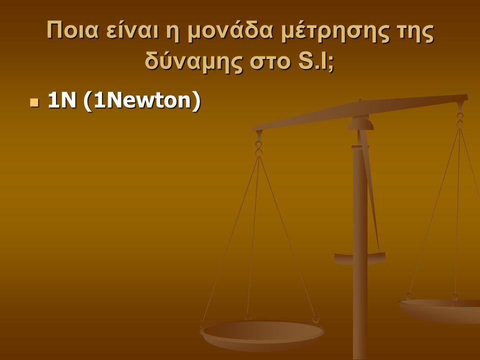 Ποια είναι η μονάδα μέτρησης της δύναμης στο S.I; 1Ν (1Newton) 1Ν (1Newton)
