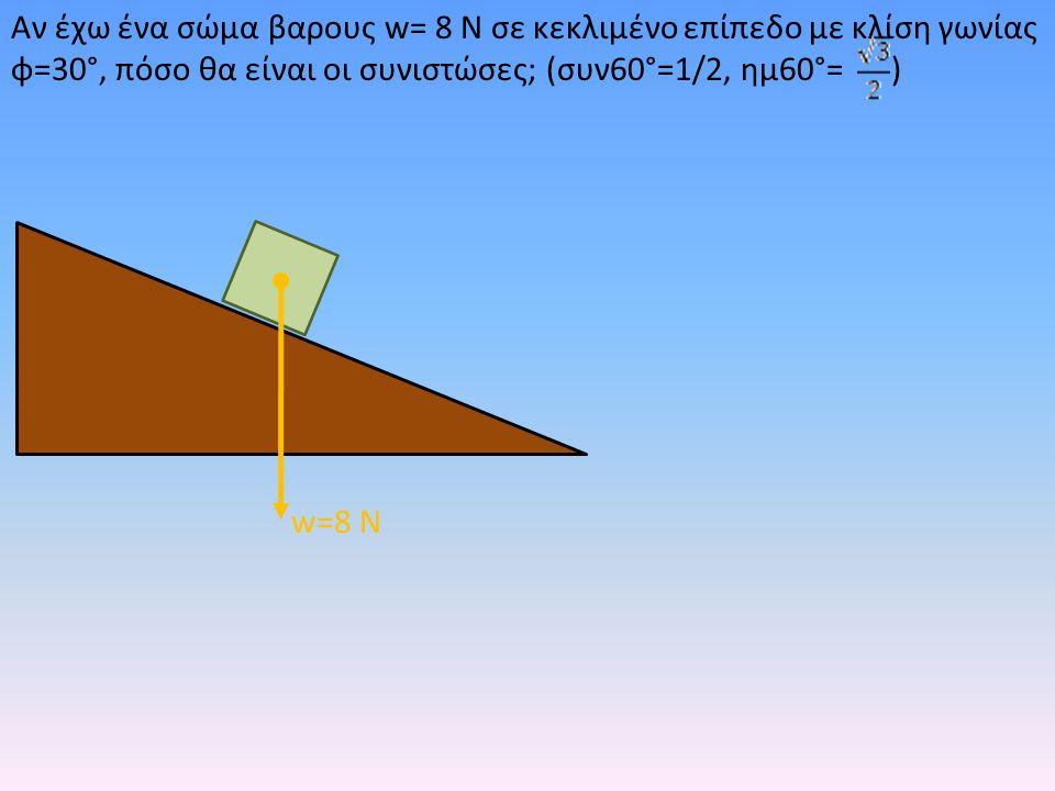 Αν έχω ένα σώμα βαρους w= 8 Ν σε κεκλιμένο επίπεδο με κλίση γωνίας φ=30°, πόσο θα είναι οι συνιστώσες; (συν60°=1/2, ημ60°= ) w=8 Ν