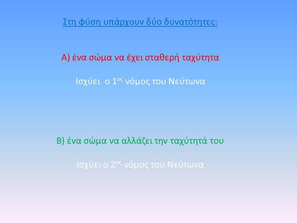 Στη φύση υπάρχουν δύο δυνατότητες: Α) ένα σώμα να έχει σταθερή ταχύτητα Ισχύει ο 1 ος νόμος του Νεύτωνα Β) ένα σώμα να αλλάζει την ταχύτητά του Ισχύει ο 2 ος νόμος του Νεύτωνα