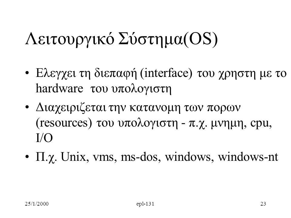 25/1/2000epl-13123 Λειτουργικό Σύστημα(OS) Ελεγχει τη διεπαφή (interface) του χρηστη με το hardware του υπολογιστη Διαχειριζεται την κατανομη των πορων (resources) του υπολογιστη - π.χ.