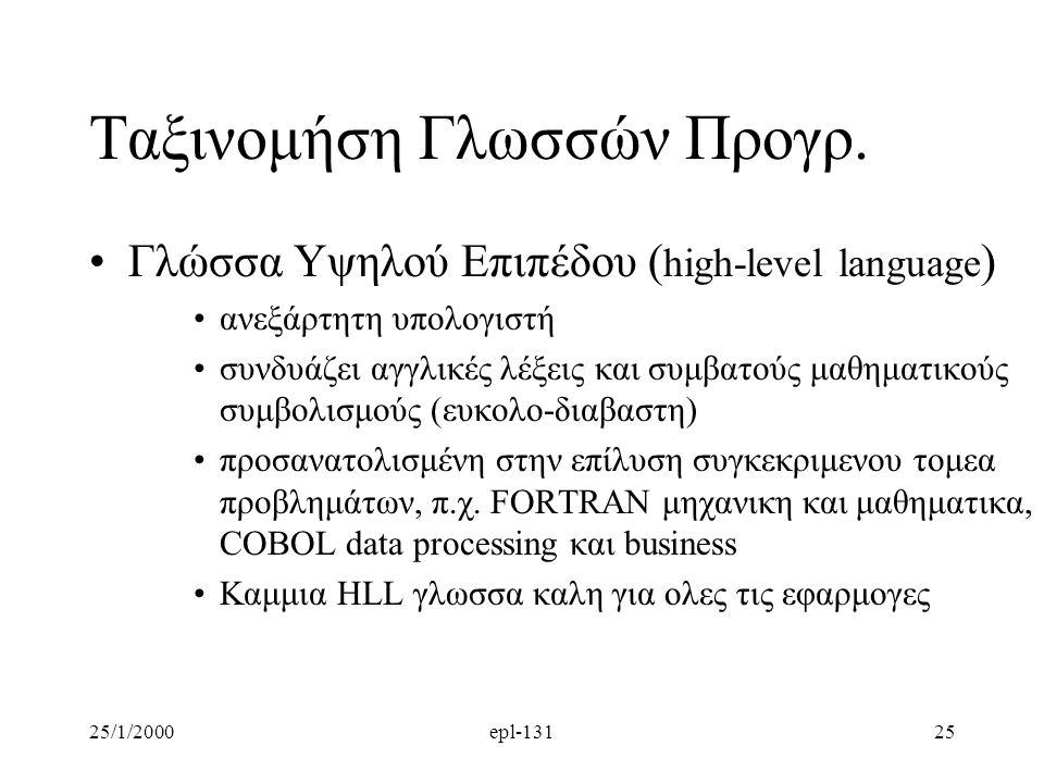 25/1/2000epl-13125 Ταξινομήση Γλωσσών Προγρ.