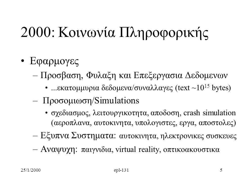 25/1/2000epl-1315 2000: Κοινωνία Πληροφορικής Εφαρμογες –Προσβαση, Φυλαξη και Επεξεργασια Δεδομενων...εκατομμυρια δεδομενα/συναλλαγες (text ~10 15 bytes) – Προσομιωση/Simulations σχεδιασμος, λειτουργικοτητα, αποδοση, crash simulation (αεροπλανα, αυτοκινητα, υπολογιστες, εργα, αποστολες) –Εξυπνα Συστηματα: αυτοκινητα, ηλεκτρονικες συσκευες –Αναψυχη: παιγνιδια, virtual reality, οπτικοακουστικα