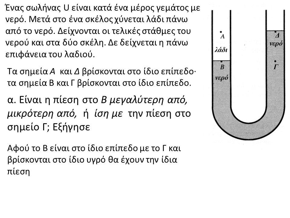 Ένας σωλήνας U είναι κατά ένα μέρος γεμάτος με νερό. Μετά στο ένα σκέλος χύνεται λάδι πάνω από το νερό. Δείχνονται οι τελικές στάθμες του νερού και στ