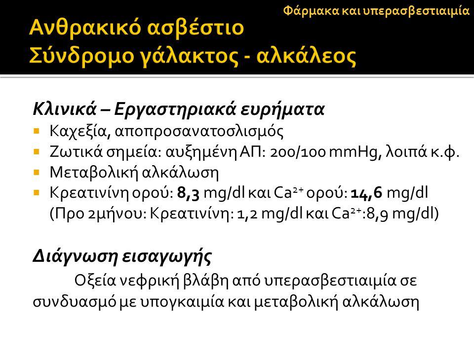 Κλινικά – Εργαστηριακά ευρήματα  Καχεξία, αποπροσανατοσλισμός  Ζωτικά σημεία: αυξημένη ΑΠ: 200/100 mmΗg, λοιπά κ.φ.  Μεταβολική αλκάλωση  Κρεατινί