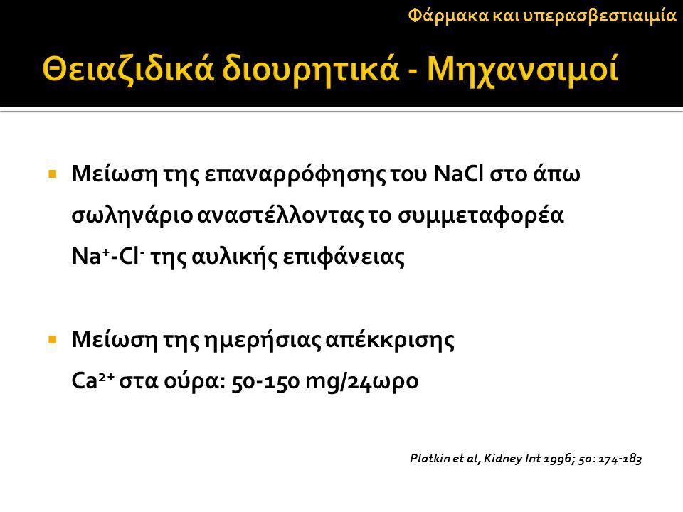  Μείωση της επαναρρόφησης του NaCl στο άπω σωληνάριο αναστέλλοντας το συμμεταφορέα Na + -Cl - της αυλικής επιφάνειας  Μείωση της ημερήσιας απέκκριση