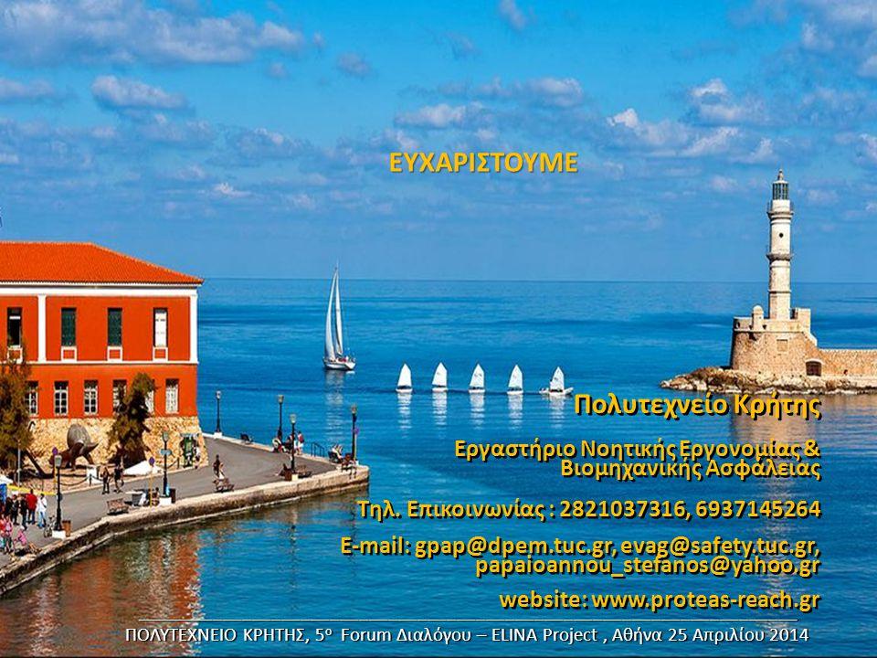 Πολυτεχνείο Κρήτης Εργαστήριο Νοητικής Εργονομίας & Βιομηχανικής Ασφάλειας Τηλ. Επικοινωνίας : 2821037316, 6937145264 E-mail: gpap@dpem.tuc.gr, evag@s