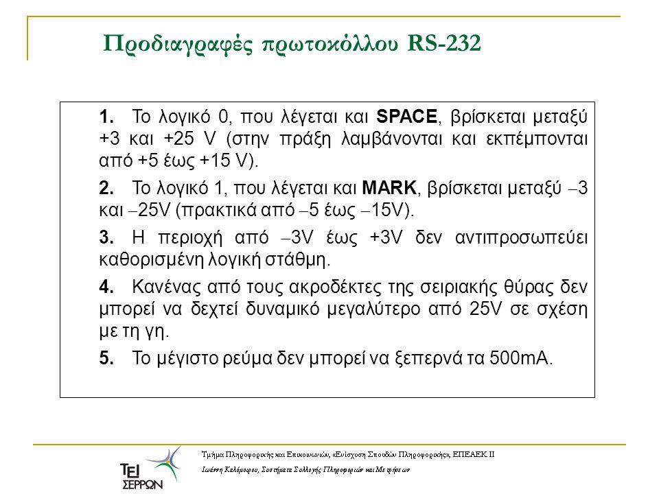 Προδιαγραφές πρωτοκόλλου RS-232 1.Το λογικό 0, που λέγεται και SPACE, βρίσκεται μεταξύ +3 και +25 V (στην πράξη λαμβάνονται και εκπέμπονται από +5 έως