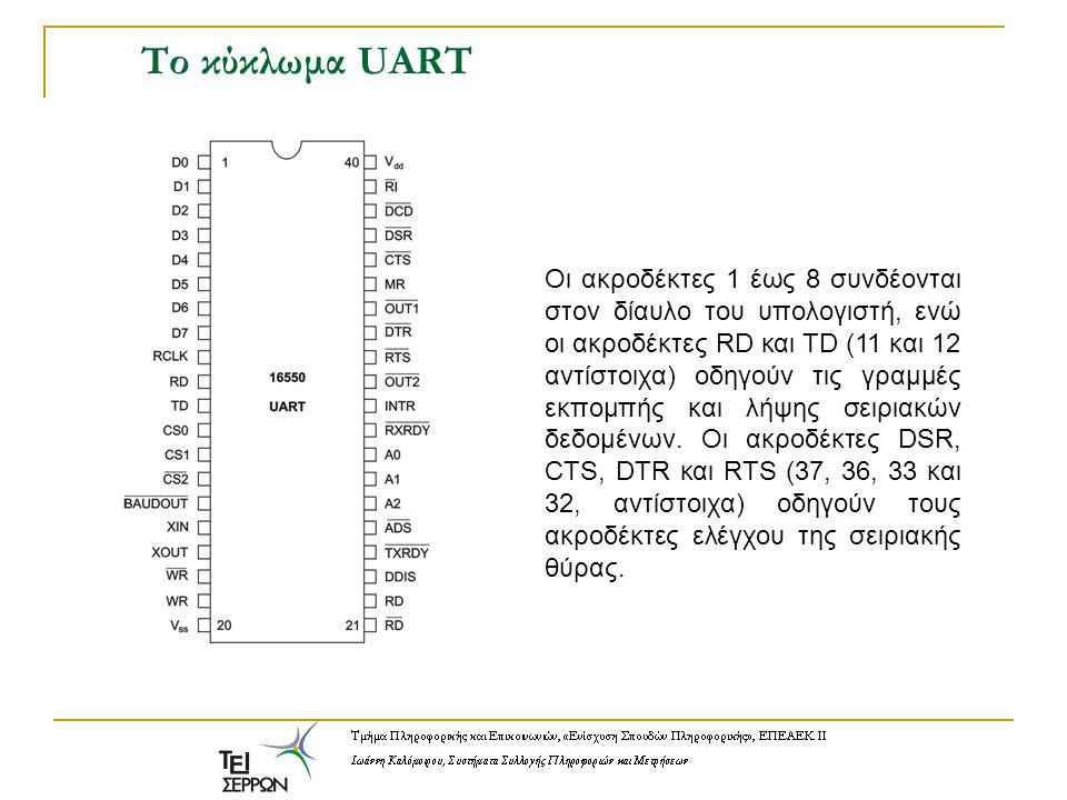 Το κύκλωμα UART Οι ακροδέκτες 1 έως 8 συνδέονται στον δίαυλο του υπολογιστή, ενώ οι ακροδέκτες RD και TD (11 και 12 αντίστοιχα) οδηγούν τις γραμμές εκ