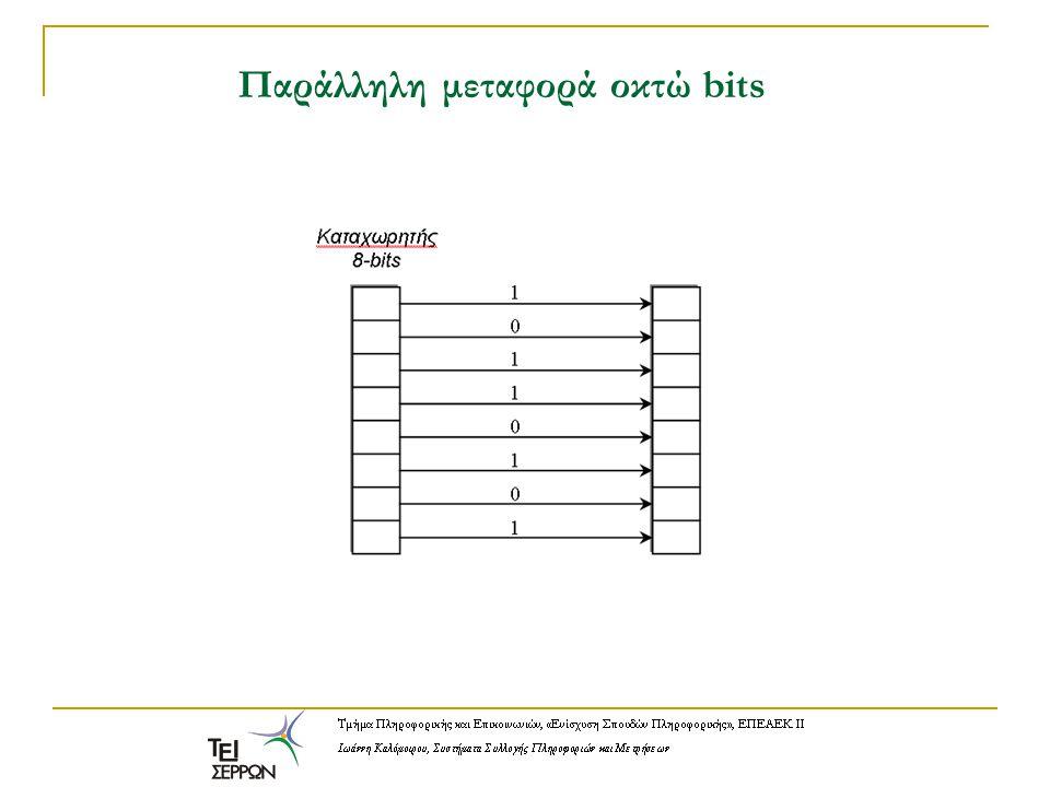 Πρωτόκολλα παράλληλης επικοινωνίας Τα πιο γνωστά πρωτόκολλα παράλληλης επικοινωνίας είναι το πρωτόκολλο CENTRONICS, για την τυπική παράλληλη θύρα ενός υπολογιστή PC και το πρωτόκολλο IEEE 488 ή GPIB, το οποίο χρησιμοποιείται σε πολλά επιστημονικά όργανα για τη δημιουργία αυτοματοποιημένων συστημάτων μετρήσεων.