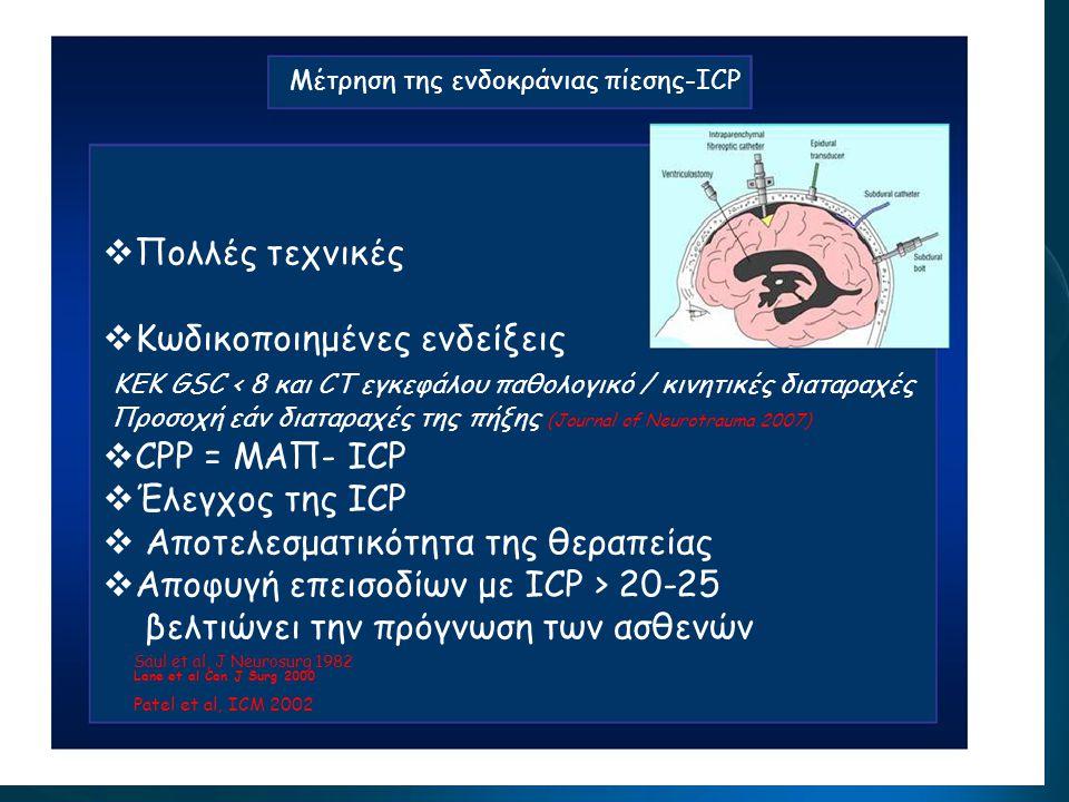 Pression intracrânienne Μέτρηση της ενδοκράνιας πίεσης-ICP  Πολλές τεχνικές  Κωδικοποιημένες ενδείξεις ΚΕΚ GSC < 8 και CT εγκεφάλου παθολογικό / κιν