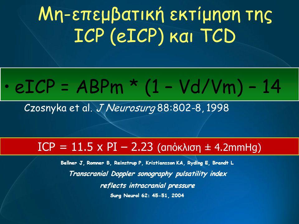 Μη-επεμβατική εκτίμηση της ICP (eICP) και ΤCD eICP = ABPm * (1 – Vd/Vm) – 14 Czosnyka et al. J Neurosurg 88:802-8, 1998 ICP = 11.5 x PI – 2.23 (απόκλι