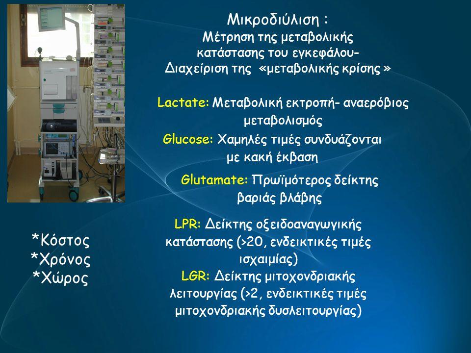 Μικροδιύλιση : Μέτρηση της μεταβολικής κατάστασης του εγκεφάλου- Διαχείριση της «μεταβολικής κρίσης » *Κόστος *Χρόνος *Χώρος Lactate: Μεταβολική εκτρο