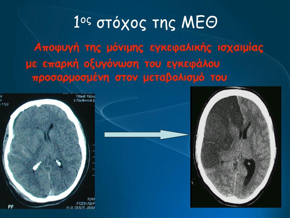 1 ος στόχος της ΜΕΘ Αποφυγή της μόνιμης εγκεφαλικής ισχαιμίας με επαρκή οξυγόνωση του εγκεφάλου προσαρμοσμένη στον μεταβολισμό του